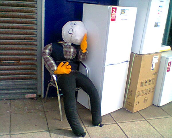 scarecrow outside electrical store